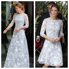 Catherine, Duchess of Cambridge had a gown re-made into a short length dress Looks Kate Middleton, Kate Middleton Outfits, Kate Middleton Prince William, Prince William And Kate, Princesa Kate Middleton, Herzogin Von Cambridge, Kate Dress, Estilo Real, Royal Clothing