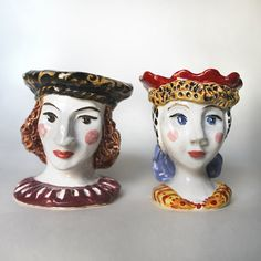 Young man and woman in renaissance costumes hand sculpted ceramic Egg Cups Set,Pottery hand painted Egg Cup, ceramic figurine Candle Holders
