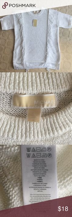 Michael Kors top White knit top with lots of stretch and fringe Michael Kors Tops