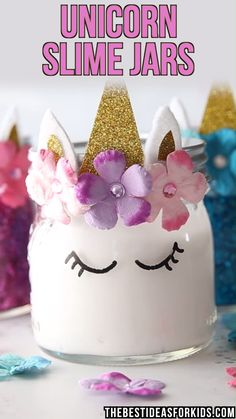 SLIME JARS UNICORN SLIME JARS - such a fun unicorn slime recipe to make! Perfect for a unicorn birthday party idea for kids too!UNICORN SLIME JARS - such a fun unicorn slime recipe to make! Perfect for a unicorn birthday party idea for kids too! Unicorn Themed Birthday Party, Birthday Party Themes, Cake Birthday, Birthday Crowns, Crafts For Birthday Parties, Kids Birthday Party Ideas, 7th Birthday Party For Girls Themes, Diy Unicorn Birthday Party, Birthday Video