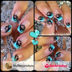 Valentine's Day Nail Art | French by MyDesigns4you via Nail Art Gallery #nailartgallery #nailart #nails #mixedmedia #abstract #french #valentinesday #heart #blue #frenchtwist #frenchmanicure #frenchtip #bluenails #mydesigns4you