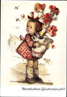 Artist Postcard Hummel, Herzlichen Glückwunsch, Mädchen, Blumenvase