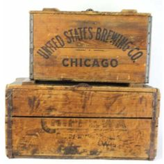2 wooden advertiser beer crates 1 crate marked United States brewing Co. with great old character in Crate Bench, Crate Table, Milk Crates, Wood Crates, Vintage Wooden Crates, Wooden Boxes, Extra Large Dog Crate, Plastic Crates, Chicago