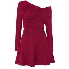 Burgundy Stretch Off The Shoulder Skater Dress (125 CAD) ❤ liked on Polyvore featuring dresses, long-sleeve skater dresses, fit-and-flare dresses, long sleeve wrap dress, off shoulder long sleeve dress and wrap dress