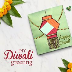 Here is the perfect gift for your dear ones this Diwali! Make this lovely handmade greeting card using simple paper craft techniques and spread joy. Diy Diwali Cards, Handmade Diwali Greeting Cards, Diwali Card Making, Diy Diwali Decorations, Diwali Diy, Diwali Craft, Cards Diy, Birthday Card Drawing, Birthday Card Design