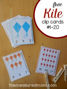 Kite Printable: Count & Clip Cards #1-20
