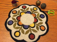 Email Deb Schildt for info about the wool kit in this color Penny Rug Patterns, Wool Applique Patterns, Felt Patterns, Felt Applique, Print Patterns, Felted Wool Crafts, Felt Crafts, Fabric Crafts, Diy Crafts