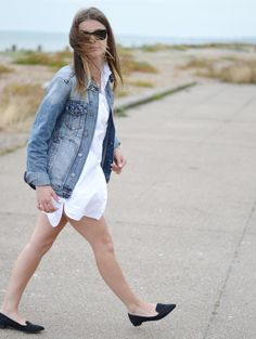 #itslilylocket #denim #streetstyle #shirtdress #shirt #minimalism Shirtdress, White Shorts, Minimalism, Personal Style, Lily, Street Style, Denim, Fitness, Shirts
