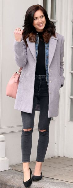 How to layer a denim jacket in winter: basic grey layers, with pop of pink bucket bag. Perfect studded black flats for under $150! By fashion blog Marie's Bazaar