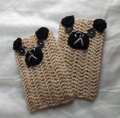 pug fingerless crochet  mittens by yasasii123 on Etsy, $13.50