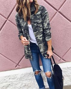 Camo Jacket Outfit Ideas Picture pin amy robinson on ill take 2 camo outfits camo Camo Jacket Outfit Ideas. Here is Camo Jacket Outfit Ideas Picture for you. Camo Jacket Outfit Ideas how to wear camouflage the chic way who what wear. Army Jacket Outfits, Camo Outfits, Mode Outfits, Casual Outfits, Camo Fashion, Look Fashion, Autumn Fashion, Fashion Outfits, Camouflage Jacket