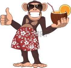 Buy Monkey with a Cocktail by on GraphicRiver. Vector illustration, chimpanzee holding a cocktail and smiling Monkey Illustration, Free Vector Illustration, Children's Book Illustration, Monkey Art, Cute Monkey, Zebra Cartoon, Cow Vector, Vector Stock, Funny Animal Pictures