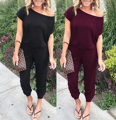 Fashion Shoulder Short Sleeve Pocket Jumpsuit – Pink-Always Clubbing Outfits, Casual Outfits, Cute Outfits, Fashion Outfits, Women's Fashion, Joggers Outfit, Jumpsuit Outfit, Comfortable Summer Outfits, Frocks For Girls
