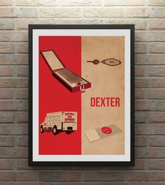 This poster portrays some of the key features from the TV series Dexter.