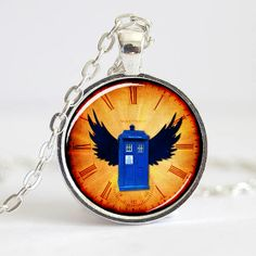 Doctor Who Necklace Pendant, Dr Who Tardis pendant, art pendant  (0479)