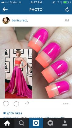 from - Nails inspired by Grammy dress! The trend of the night definitely seemed to be cutouts and muted colors so I thought this would be a more colorful option to. Trendy Nails, Cute Nails, Hollywood Nails, Crazy Nail Art, Celebrity Nails, Painted Nail Art, Nail Games, Tips Belleza, Creative Nails