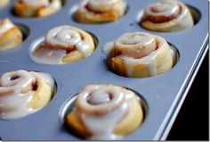 Mini Cinnamon Rolls. 8 minutes is all it takes to make these easy, mini cinnamon rolls. They are a HIT! | http://iowagirleats.com/2011/11/23/8-minute-mini-cinnamon-rolls/