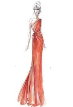 Alberta Ferretti for Macy's orange pom pom long chiffon one Shoulder dress