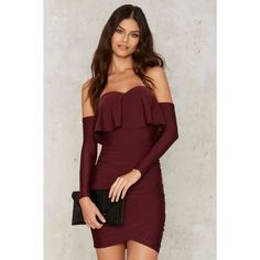 Ruche Hour Mini Dress ($78) ❤ liked on Polyvore featuring dresses, red, off shoulder cocktail dress, off-the-shoulder dresses, short mini dress, mini dress and red dress