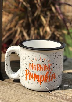 morning pumpkin || white || campfire mug || 15 ounce by Napcreations on Etsy https://www.etsy.com/listing/537705002/morning-pumpkin-white-campfire-mug-15
