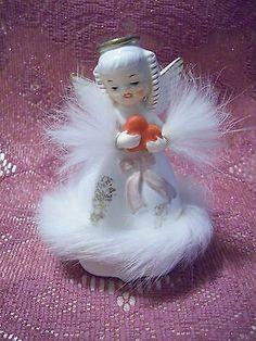 VTG-Napco-Valentine-February-Birthday-Real-Fur-Angel-Girl-Holds-Heart-Figurine