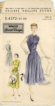 1950s Pin Tucked Dress Pattern Vogue Special Design by CynicalGirl, $32.00