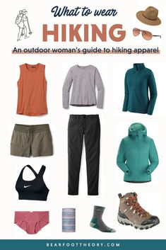 Not sure what to wear hiking? Learn how to dress for both function comfort on the trail in a variety of conditions with this women's hiking apparel guide. - What to Wear Hiking Hiking Dress, Summer Hiking Outfit, Outfit Winter, Hiking Wear, Womens Hiking Outfits, Camping Outfits For Women Summer, Cute Hiking Outfit, Women Camping, Summer Wear