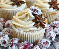 Cranberry Chai Cupcakes with Chai Cream Cheese.