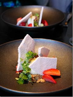 Marinated strawberries in balsamic with a sheep's milk sorbet are refreshing while strawberry meringue is light and crumbly around toasted milk powder. Salad burnet, pineapple sage and baby shiso lift the flavours of this dessert.