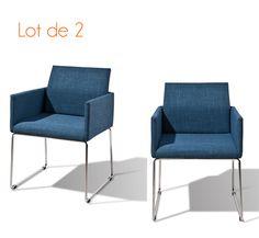 Chaise fauteuil bleu en tissu ert métal HENRI lot de 2