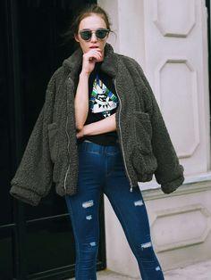 910dba5c225 Plus Size Zip Up Fluffy Winter Coat (S-3XL). Faux CoatCardigan  OutfitsShearling JacketFaux Fur JacketWinter Coats WomenCoats ...