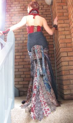 Lady Largo Victorian Steampunk upcycled silk tie bustier and jeans bustle skirt