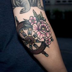 peony flower tattoo neo traditional neotraditional steering wheel ship sailor elisabethatattoo