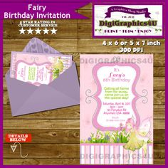 Enchanted Fairy or Pixie Whimsical Birthday by DigiGraphics4u #fairy #pixie #birthday #invitation @etsy