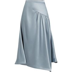 Sies Marjan Gathered silk-charmeuse skirt (€1.140) ❤ liked on Polyvore featuring skirts, light blue, shiny skirt, layered skirt, shirred skirt, light blue skirt and flared skirt