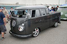VW type II transporter _ charcoal gray/carbon fiber double cab_3/4 front view_The 2012 O.C.T.O  show_June 9, 2012