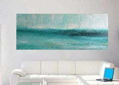 """Extra Large Abstract painting - turquoise painting -  textured painting  Greece by Veronica Vilsan 60x24""""(150x60cm)"""