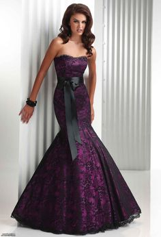 Black lace dress long purple dress- If only I had someplace to wear this to Evening Dress Long, Lace Evening Dresses, Evening Party, Evening Gowns, Evening Cocktail, Black Wedding Dresses, Wedding Bridesmaid Dresses, Dress Wedding, Prom Dresses