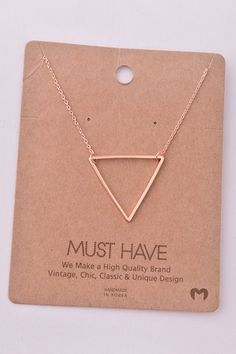 Dainty Large Open Triangle Pendant Necklace - Gold, Silver, or Rose Gold