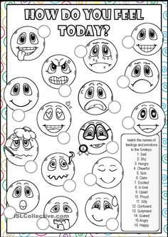 FEELINGS AND EMOTIONS Worksheet with Smileys - Children have to learn the vocabulary with feelings and emotions. English Vocabulary Exercises, English Exercises, Vocabulary Worksheets, Feelings Games, Feelings And Emotions, Emotions Activities, English Worksheets For Kids, English Activities, English Lessons