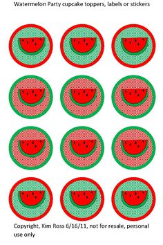 Tea Time, Parties & Cupcakes: (FREE) Watermelon cupcake toppers, labels or stickers
