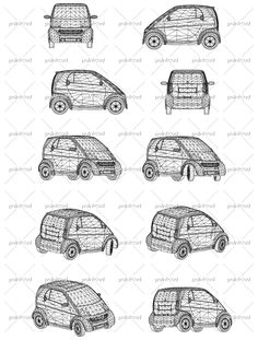 Wireframe design of modern mini car. Front, side, back and axonometric views. Vector illustration of isolated objects over blue background.