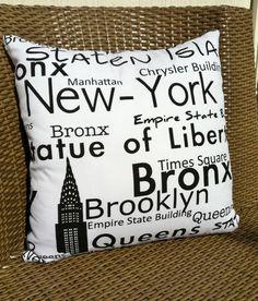 New York Cushion. $19.95, via Etsy.