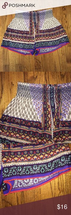 Patterned Shorts Patterned shorts with thin red lace around the bottom. Elastic waistband. In extremely good condition ! Patrons of Peace Shorts