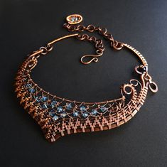 Fabulous Woven Copper & Crystal Collar Aqua OOAK Statement Necklace Netting