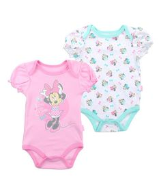 Look what I found on #zulily! Minnie Mouse Pink & Aqua Bodysuit Set - Infant #zulilyfinds