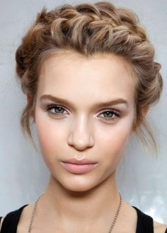natural makeup with braided crown.