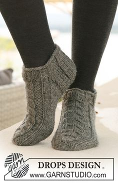 "DROPS short Socks with cables in ""Alaska"". ~ DROPS Design"