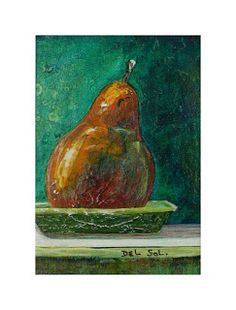 "Cristina Del Sol...(Daily Paintings-10-10-2011).. Contemporary Fine Art: ""PEAR TO GO""-Pear Still Life Painting- Mixed Media.. on watercolor paper"