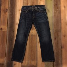Men's Silver Nash Heritage jeans Washed but never worn. Size 34/30. Super soft faded dark wash with contrast stitching. Classic straight leg. Purchased them for my husband but he doesn't wear them, so I'm selling! Silver Jeans Pants Straight Leg